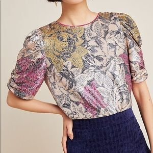 Anthropologie Floral Sequin Marie Puff Sleeves Top
